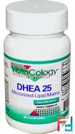 DHEA 25, Micronized Lipid Matrix, Nutricology, 60 Scored Tablets