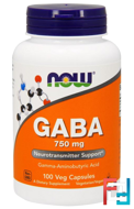 GABA, Now Foods, 750 mg, 100 Veg Capsules
