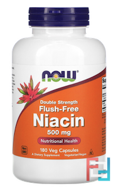 Flush-Free Niacin, Double Strength, 500 mg, Now Foods, 180 Veg Capsules