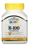 B-100 Complex, Prolonged Release, 21st Century, 60 Tablets