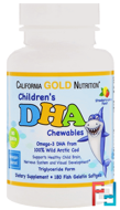 Children's DHA Chewables, 100% Wild Arctic Cod, Strawberry-Lemon Flavor, California Gold Nutrition, CGN, 180 Fish Gelatin Softgels