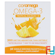 Omega3+D Squeeze, Tropical Orange, 30 Squeeze Packets, Coromega, 2.5 g
