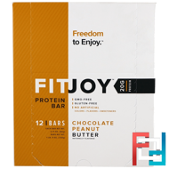 Protein Bar, Chocolate Peanut Butter, FITJOY, 12 Bars, 2.11 oz (60 g) Each