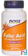 Folic Acid with Vitamin B-12, Now Foods, 800 mcg, 250 Tablets