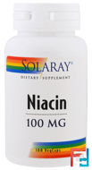 Niacin, 100 mg, Solaray, 100 Veggie Caps