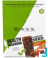 Pumpkin Seed Superfood Bar, Cinnamon Spice, Health Warrior, Inc., 12 Bars, 1.27 oz (36 g) Each