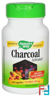 Charcoal, Activated, 280 mg, Nature's Way, 100 Capsules