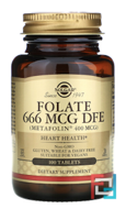 Folate, As Metafolin, 400 mcg, Solgar, 100 Tablets