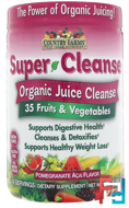 Super Cleanse, Organic Juice Cleanse, Pomegranate Acai Flavor, Country Farms, 9.88 oz (280 g)