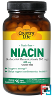 Niacin, Flush-Free, Country Life, 400 mg, 90 Vegan Caps