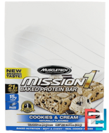 Mission1 Baked Protein Bar, Cookies & Cream, Muscletech, 12 Bars, 2.12 oz (60 g) Each