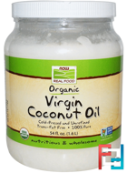 Real Food, Organic Virgin Coconut Oil, Now Foods, 54 fl oz (1.6 L)
