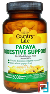 Papaya Digestive Support, Pineapple Papaya Flavor, Country Life, 500 Chewable Wafers
