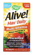 Alive! Max3 Daily, Max Potency, Multi-Vitamin, No Added Iron, Nature's Way, 90 Tablets