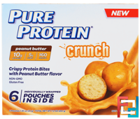 Crunch, Peanut Butter Bites, 6 Individually Wrapped Pouches, Pure Protein, 1.20 oz (34 g) Each