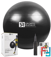 Performance Stability Ball, Sports Research, Black, 1 - 65cm Ball