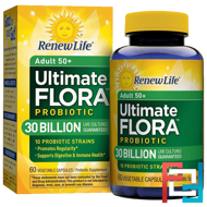 Adult 50+, Ultimate Flora Probiotic, 30 Billion Live Cultures, Renew Life, 60 Vegetable Capsules