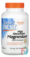 High Absorption Magnesium, Doctor's Best, 100% Chelated, 240 Tablets