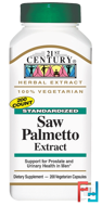 Saw Palmetto Extract, Standardized, 21st Century, 200 Veggie Caps