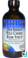 Old Indian Wild Cherry Bark Syrup, Planetary Herbals, 4 fl oz (118.28 ml)