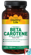 Beta Carotene, Country Life, 100 Softgels