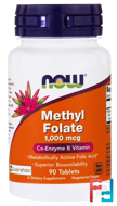 Methyl Folate, Now Foods, 1000 mcg, 90 Tablets