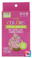 Party, Colors From Nature, Pink Frosting Color & Rainbow Sprinkles, ColorKitchen, 1.33 oz (37.74 g)