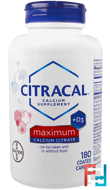 Maximum, +D3, Citracal, 180 Coated Caplets