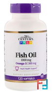 Fish Oil, 21st Century, 1000 mg, 120 Softgels