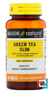 Green Tea Slim, Mason Naturals, 60 Tablets