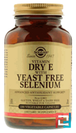 Natural Dry E with Yeast Free Selenium, Solgar, 100 Veggie Caps