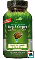 Mega B Complex, with Quick Energy MCT's, Irwin Naturals, 60 Liquid Soft-Gels