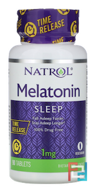 Melatonin, Time Release, Natrol, 1 mg, 90 Tablets