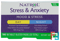 Stress & Anxiety, Day & Nite, Natrol, 10 Tablets Each