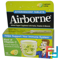 Blast of Vitamin C, Lemon-Lime, AirBorne, 10 Effervescent Tablets