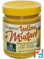 Organic Yellow Mustard, Eden Foods, 9 oz (255 g)