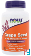 Grape Seed, Standardized Extract, Now Foods, 60 mg, 180 Veg Capsules