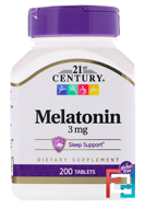 Melatonin, 21st Century, 3 mg, 200 Tablets