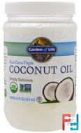 Raw Extra Virgin Coconut Oil, Garden of Life, 14 fl oz (414 ml)