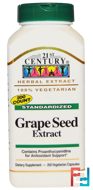 Grape Seed Extract, 21st Century, 200 Veggie Caps