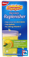 Electrolyte Replenisher, Lemon-Lime, Emergen-C, 8 Packets, 0.33 oz (9.4 g) Each