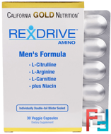 Rexdrive Amino, Men's Formula, California Gold Nutrition, CGN, 30 Veggie Caps