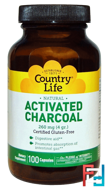 Activated Charcoal, 260 mg (4 g), Country Life, 100 Capsules