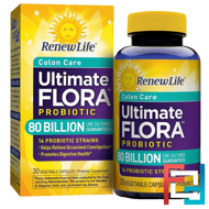 Colon Care, Ultimate Flora Probiotic, 80 Billion Live Cultures, Renew Life, 30 Vegetable Capsules