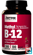 Methyl B-12, Cherry Flavor, Jarrow Formulas, 500 mcg, 100 Lozenges