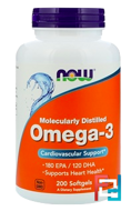 Omega-3, 180 EPA/120 DHA, Now Foods, 200 Softgels