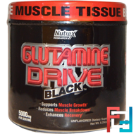 Glutamine Drive, Black, 5000 mg, Nutrex Research Labs, 150 g