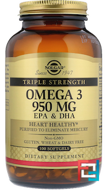 Omega-3 EPA & DHA, Triple Strength, Solgar, 950 mg, 100 Softgels