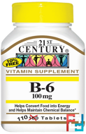 21st Century, B-6, 100 mg, 110 Tablets