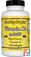 Vitamin D3, 2,400 IU, Healthy Origins, 120 Softgels
